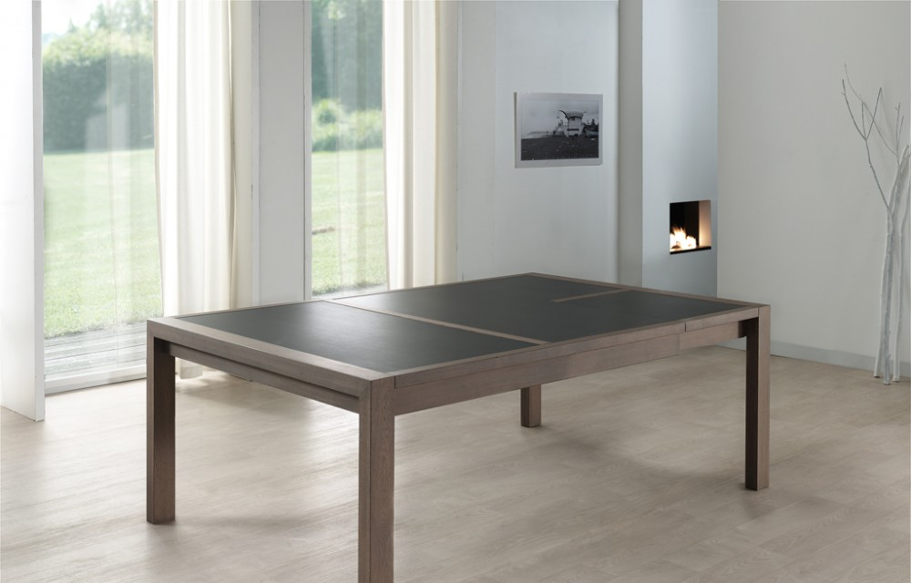 Table faux carré 160x140 E19 N°2  ceram 1 allonge (2)