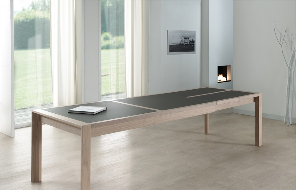 Table rect. 200(350)x100  E8 N°3 verre taupe - 2 all.(3)