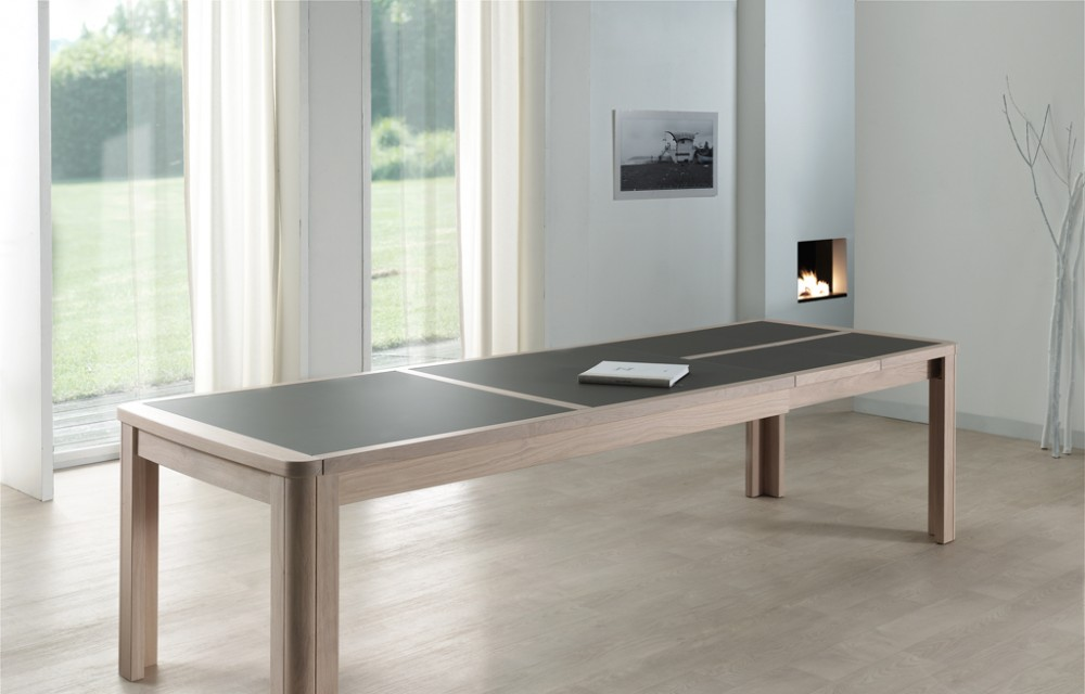 Table rect. 200(350)x100 E8 N°4 verre taupe 2 all. (1)