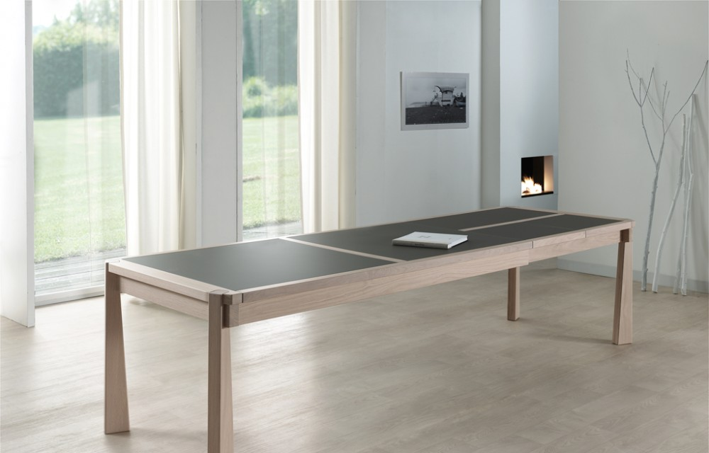 Table rect. 200(350)x100 E8 N°5 verre taupe  2 all. (1)