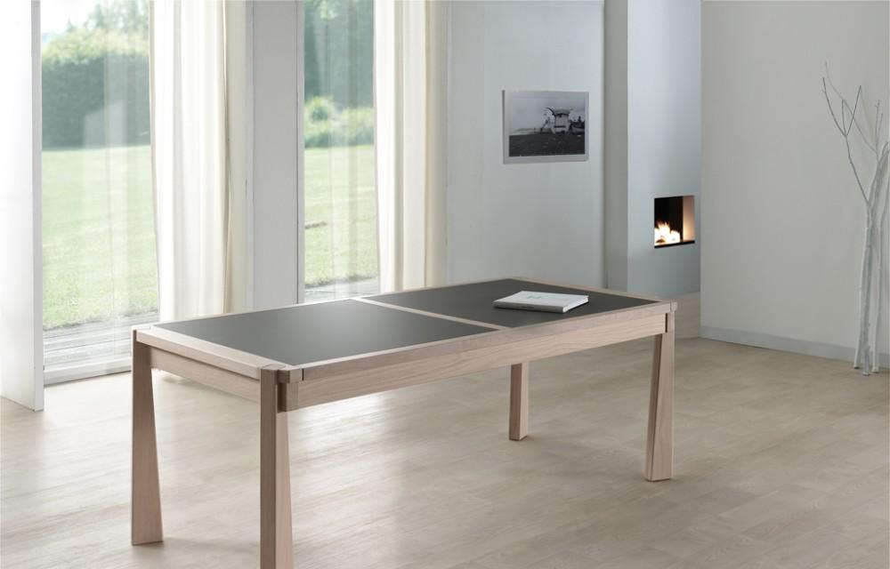 Table rect. 200x100 E8 N°5 verre taupe fermée (1)